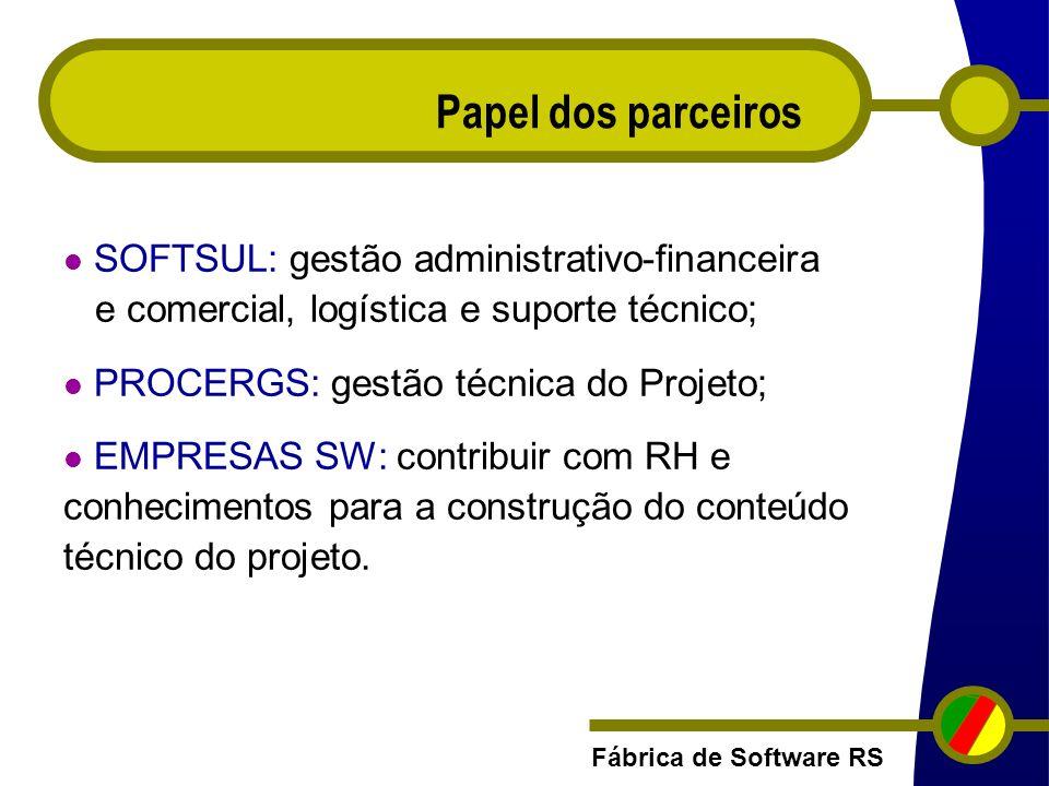 Papel dos parceiros SOFTSUL: gestão administrativo-financeira e comercial, logística e suporte técnico;
