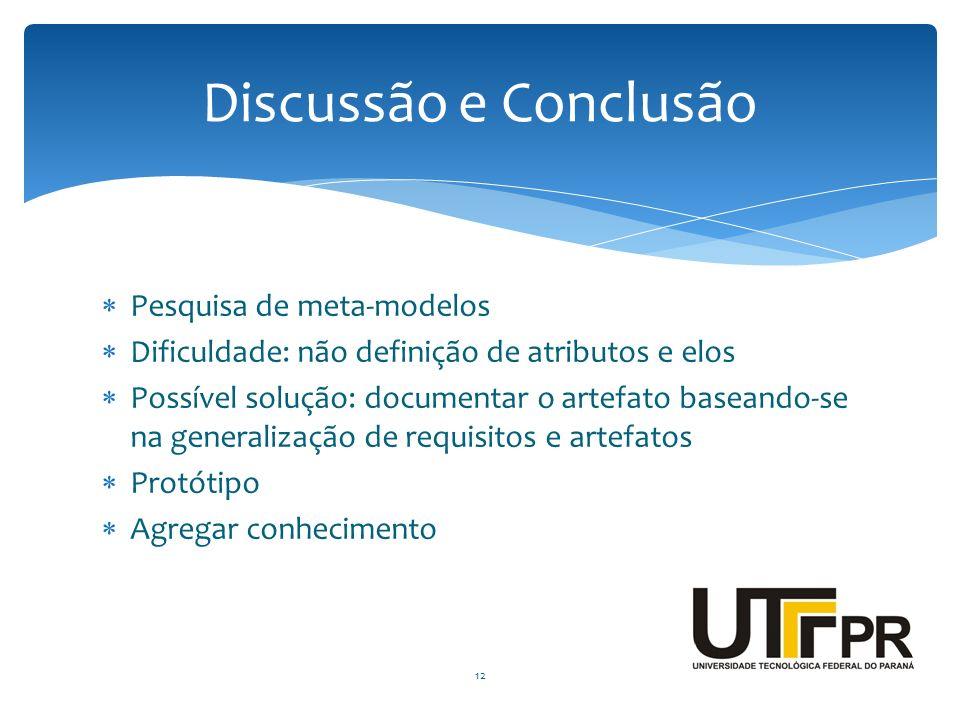 Discussão e Conclusão Pesquisa de meta-modelos