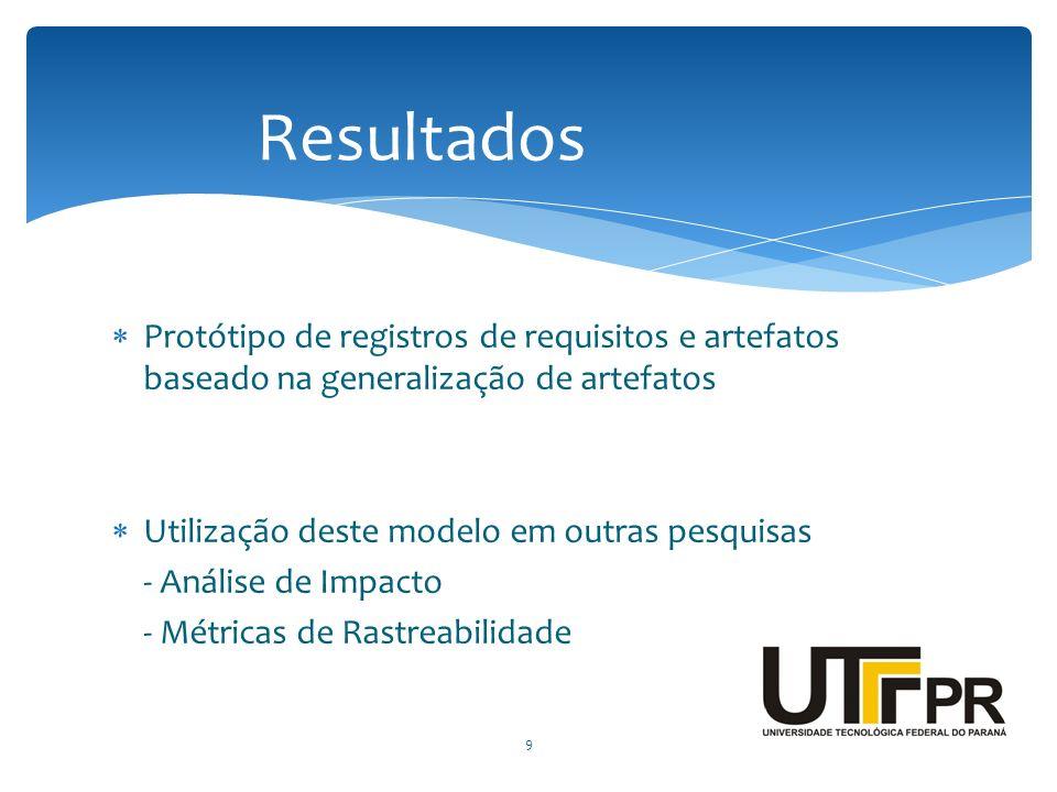 Resultados Protótipo de registros de requisitos e artefatos baseado na generalização de artefatos. Utilização deste modelo em outras pesquisas.