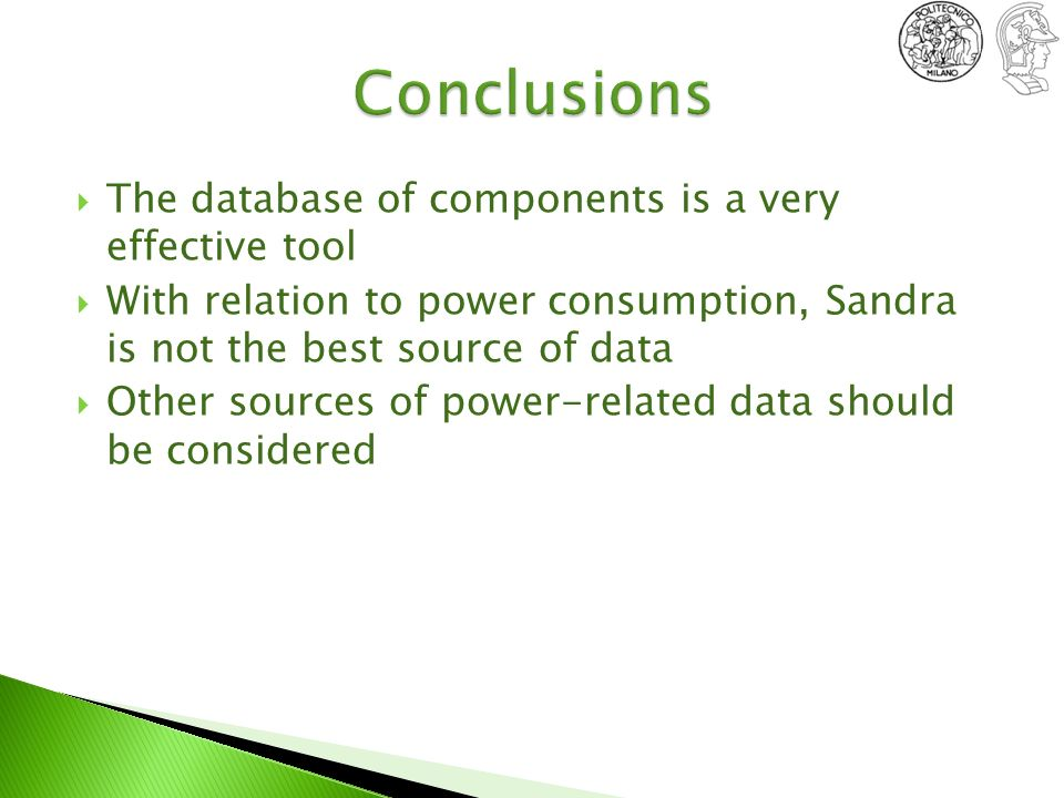Conclusions The database of components is a very effective tool