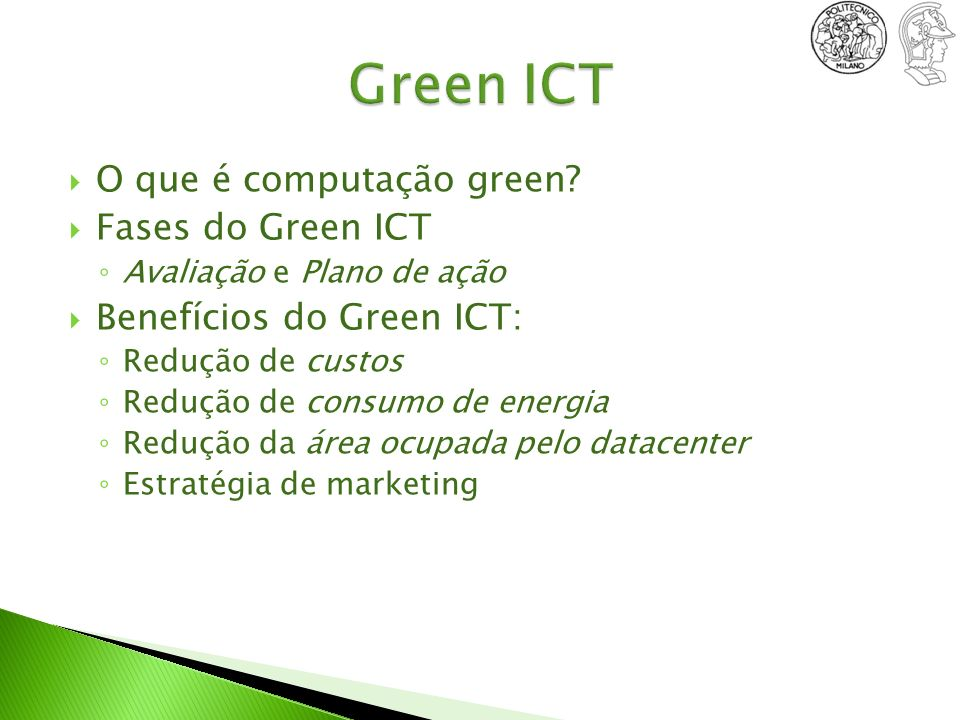 Green ICT O que é computação green Fases do Green ICT