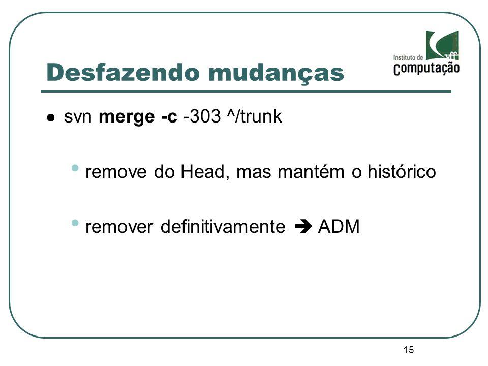 Desfazendo mudanças svn merge -c -303 ^/trunk