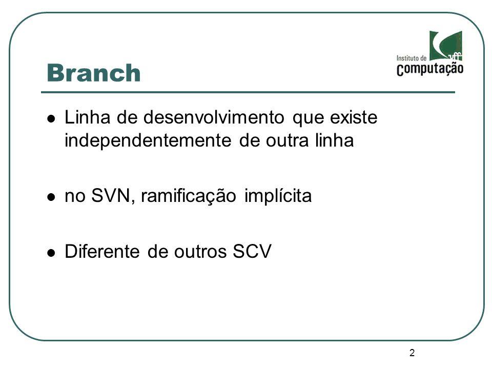 Branch Linha de desenvolvimento que existe independentemente de outra linha. no SVN, ramificação implícita.