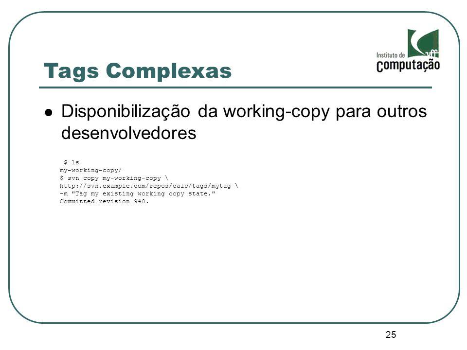 Tags Complexas Disponibilização da working-copy para outros desenvolvedores. $ ls. my-working-copy/