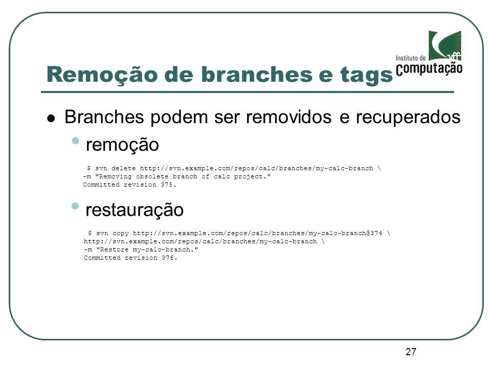 Remoção de branches e tags