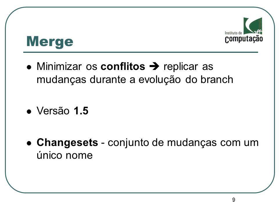 Merge Minimizar os conflitos  replicar as mudanças durante a evolução do branch. Versão 1.5. Changesets - conjunto de mudanças com um único nome.