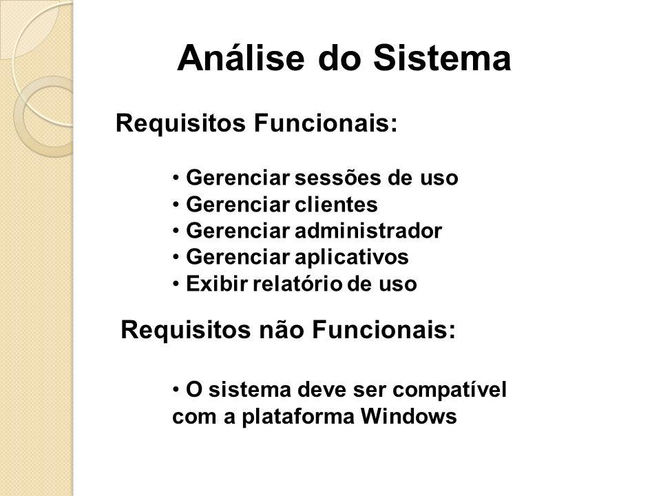 Análise do Sistema Requisitos Funcionais: Requisitos não Funcionais: