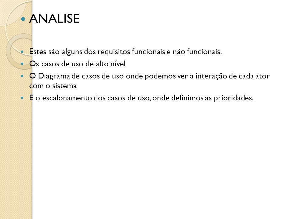 ANALISE Estes são alguns dos requisitos funcionais e não funcionais.