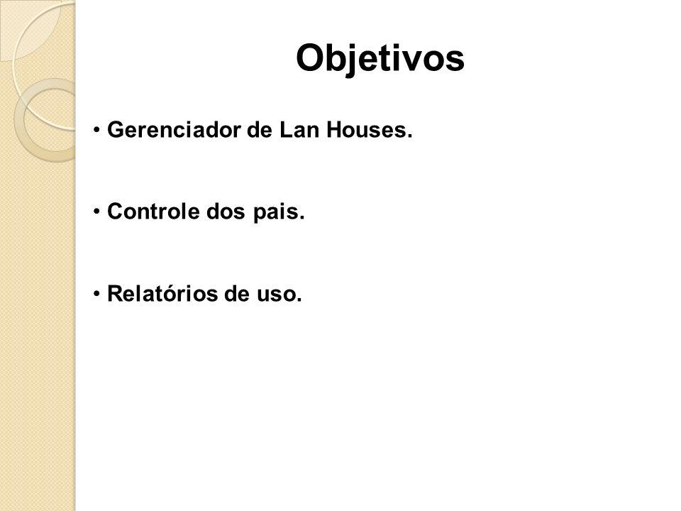 Objetivos Gerenciador de Lan Houses. Controle dos pais.