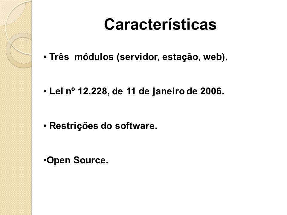 Características Três módulos (servidor, estação, web).