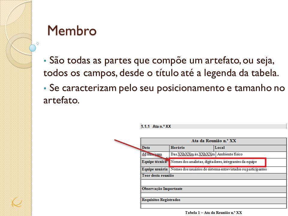 MembroSão todas as partes que compõe um artefato, ou seja, todos os campos, desde o título até a legenda da tabela.