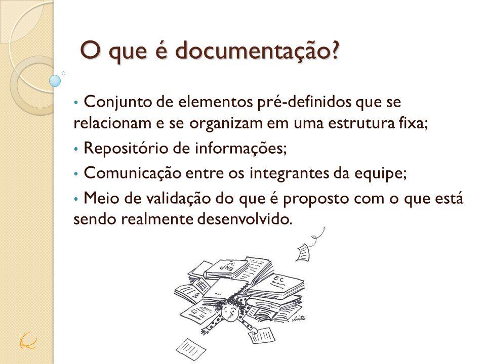 O que é documentação Conjunto de elementos pré-definidos que se relacionam e se organizam em uma estrutura fixa;