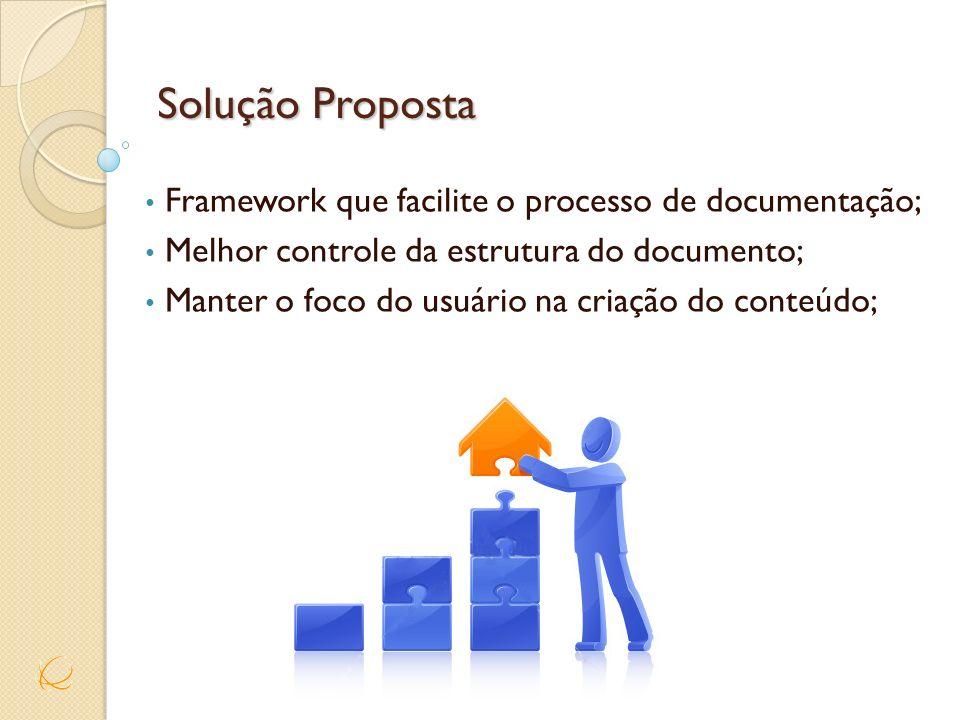 Solução Proposta Framework que facilite o processo de documentação;