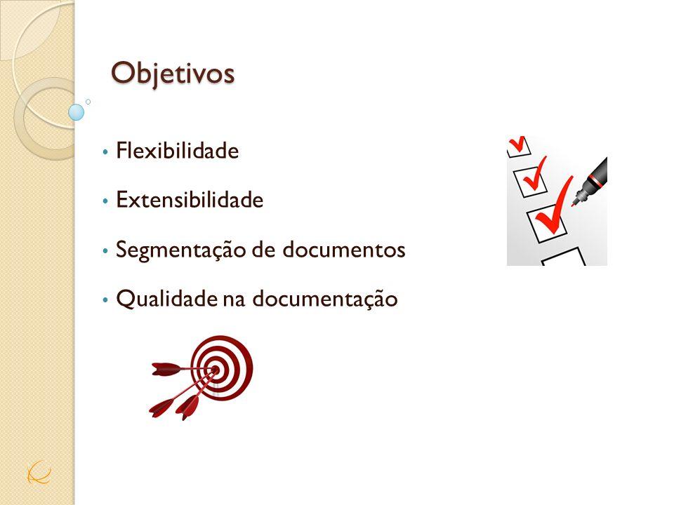 Objetivos Flexibilidade Extensibilidade Segmentação de documentos