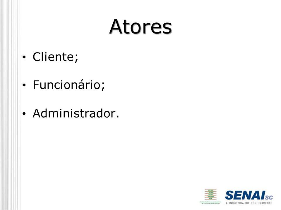 Atores Cliente; Funcionário; Administrador.