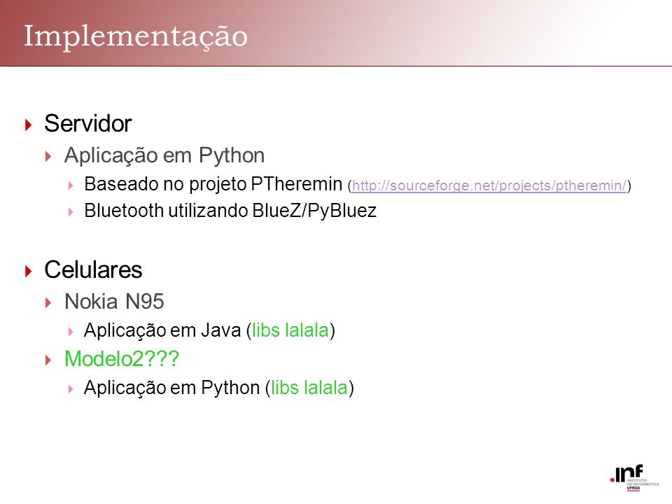 Implementação Servidor Celulares Aplicação em Python Nokia N95