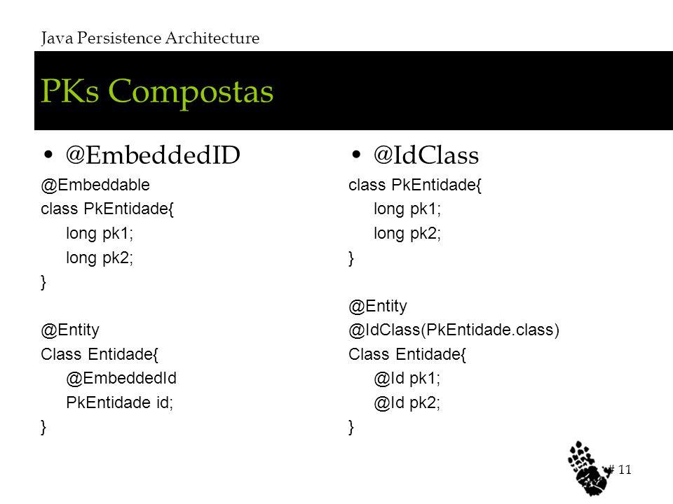 PKs Compostas @EmbeddedID @IdClass Java Persistence Architecture