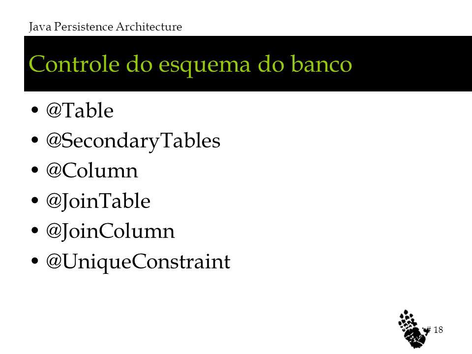 Controle do esquema do banco