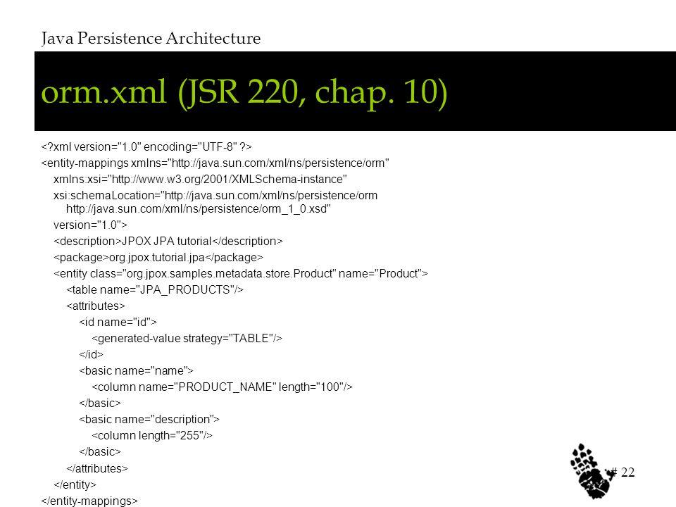 orm.xml (JSR 220, chap. 10) Java Persistence Architecture