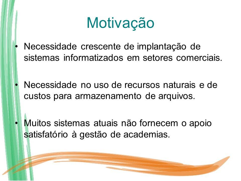 Motivação Necessidade crescente de implantação de sistemas informatizados em setores comerciais.