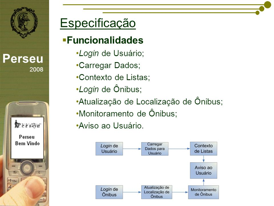 Especificação Perseu 2008 Funcionalidades Login de Usuário;