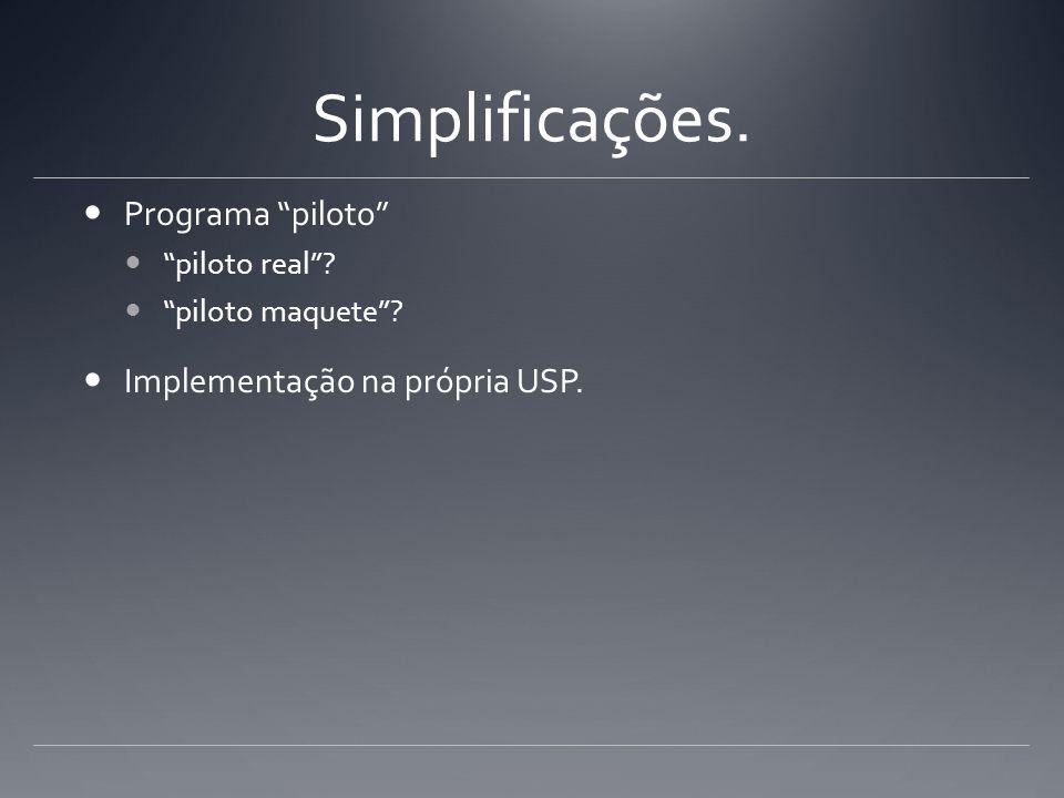 Simplificações. Programa piloto Implementação na própria USP.