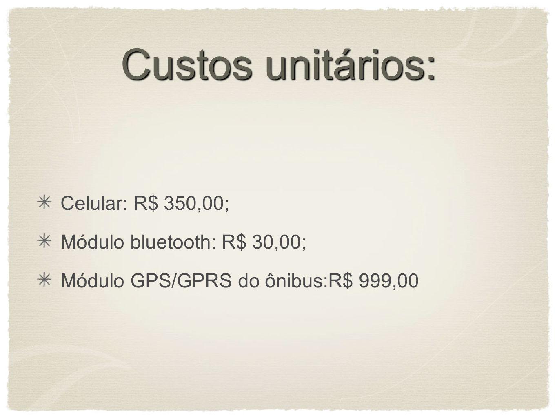 Custos unitários: Celular: R$ 350,00; Módulo bluetooth: R$ 30,00;
