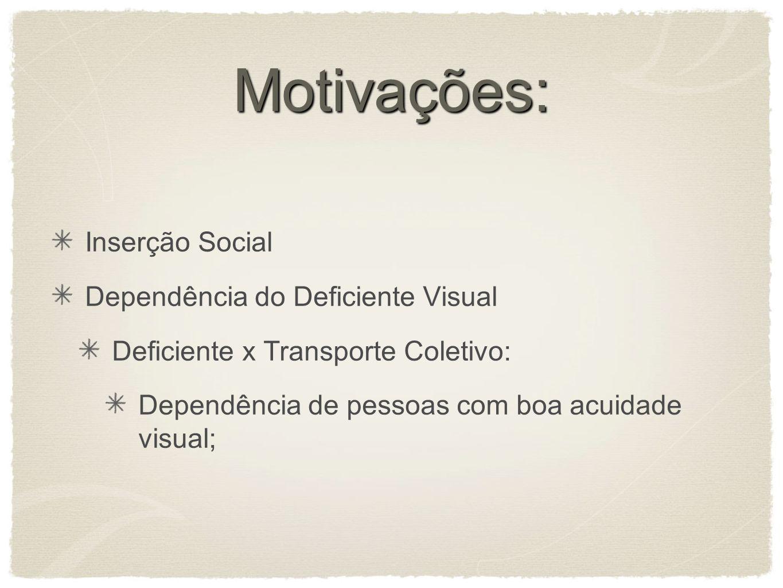 Motivações: Inserção Social Dependência do Deficiente Visual