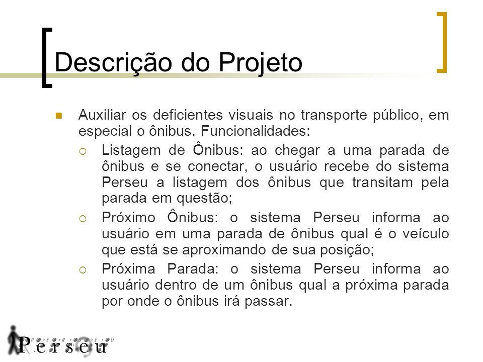 Descrição do Projeto Auxiliar os deficientes visuais no transporte público, em especial o ônibus. Funcionalidades: