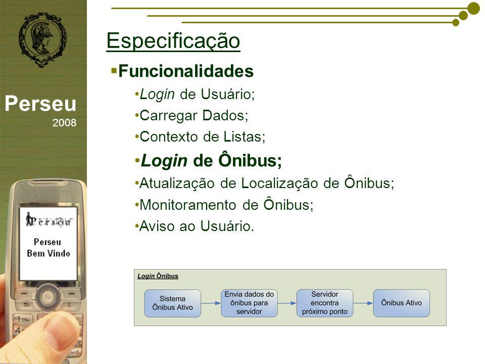 Especificação Perseu 2008 Funcionalidades Login de Ônibus;