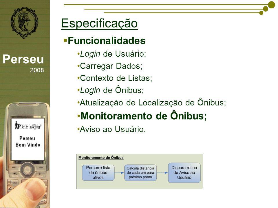 Especificação Perseu 2008 Funcionalidades Monitoramento de Ônibus;