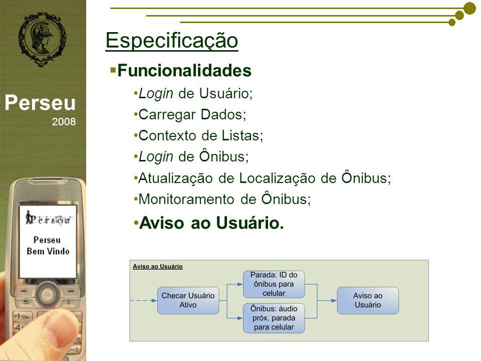 Especificação Perseu 2008 Funcionalidades Aviso ao Usuário.