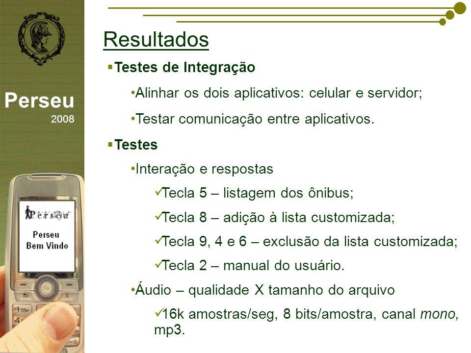 Resultados Perseu 2008 Testes de Integração
