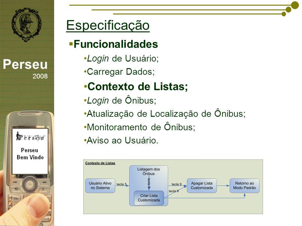 Especificação Perseu 2008 Funcionalidades Contexto de Listas;
