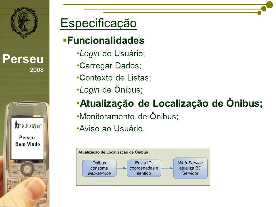 Especificação Perseu 2008 Funcionalidades