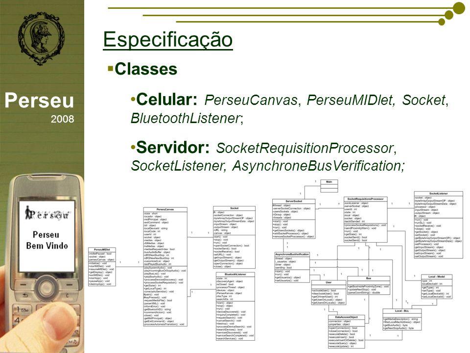 Especificação Perseu 2008 Classes