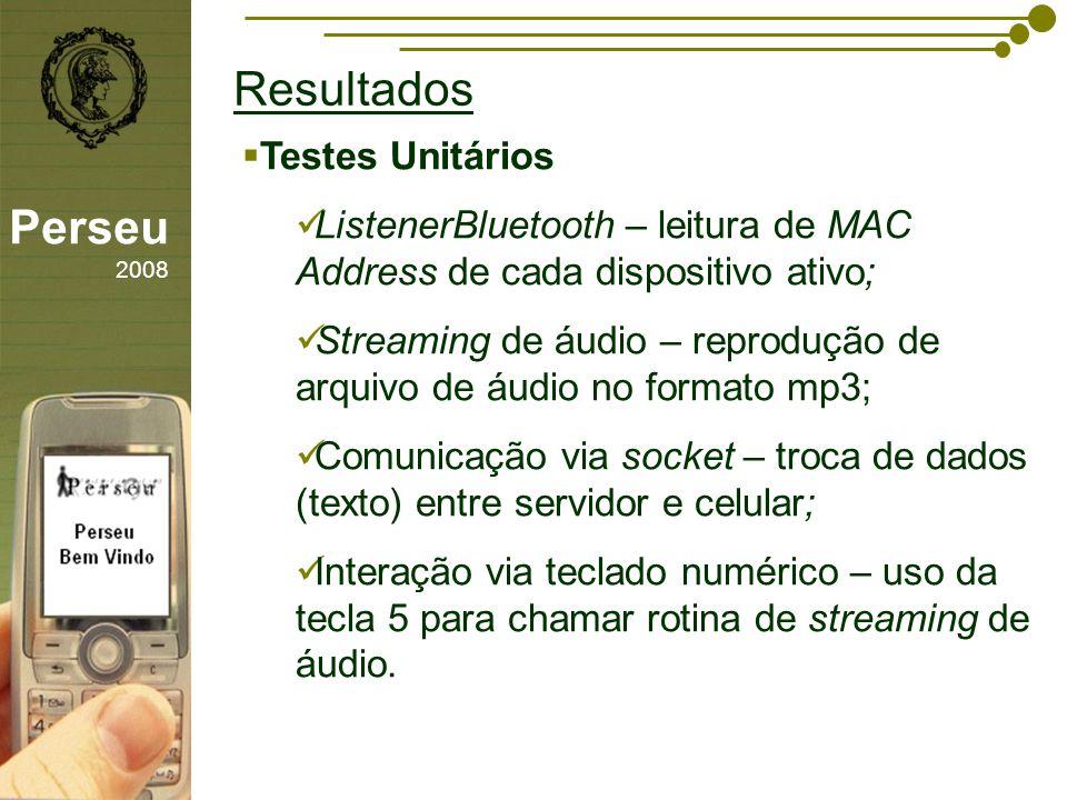 Resultados Perseu 2008 Testes Unitários