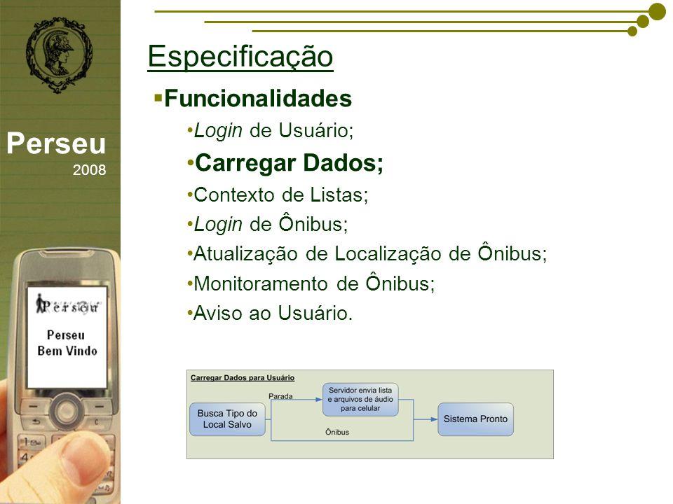Especificação Perseu 2008 Funcionalidades Carregar Dados;