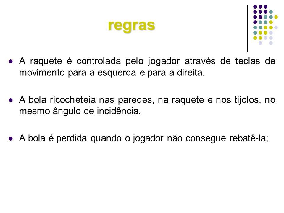 regras A raquete é controlada pelo jogador através de teclas de movimento para a esquerda e para a direita.