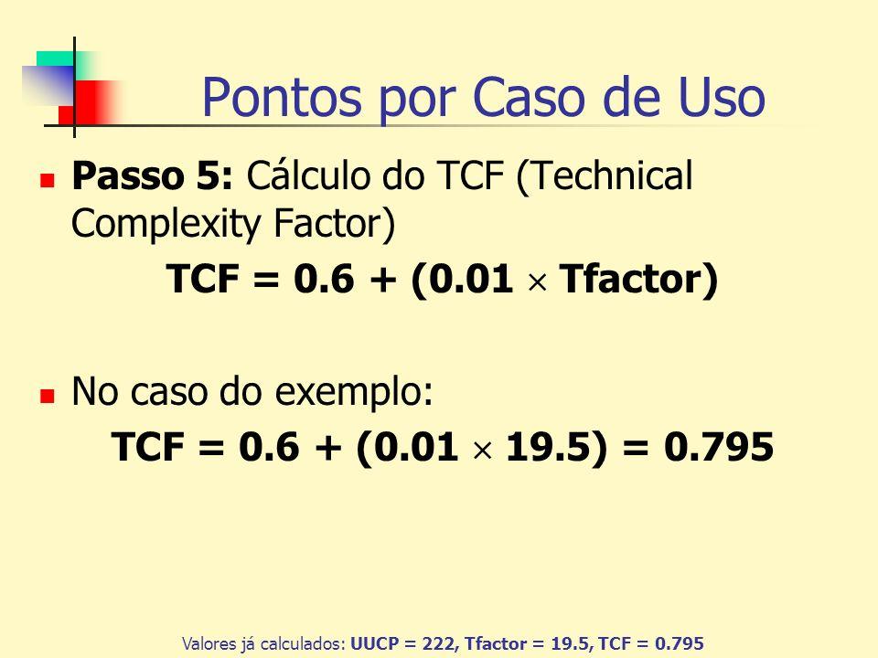 Valores já calculados: UUCP = 222, Tfactor = 19.5, TCF = 0.795