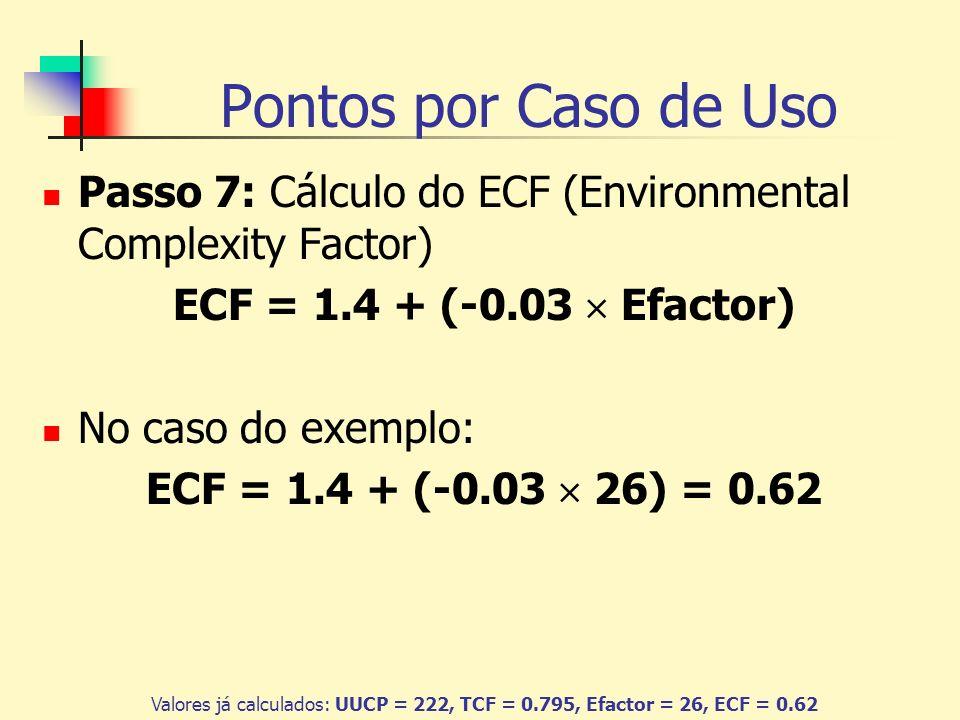 Pontos por Caso de Uso Passo 7: Cálculo do ECF (Environmental Complexity Factor) ECF = 1.4 + (-0.03  Efactor)