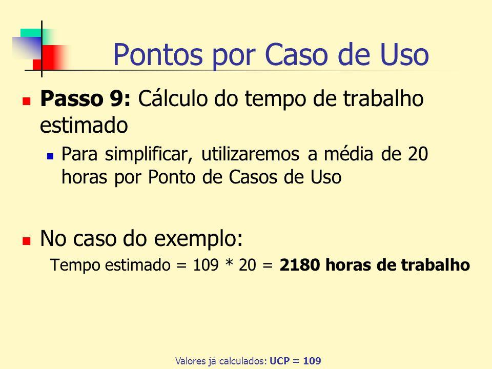Pontos por Caso de Uso Passo 9: Cálculo do tempo de trabalho estimado