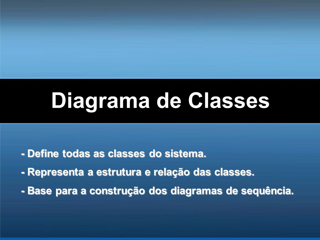 Diagrama de Classes - Define todas as classes do sistema.