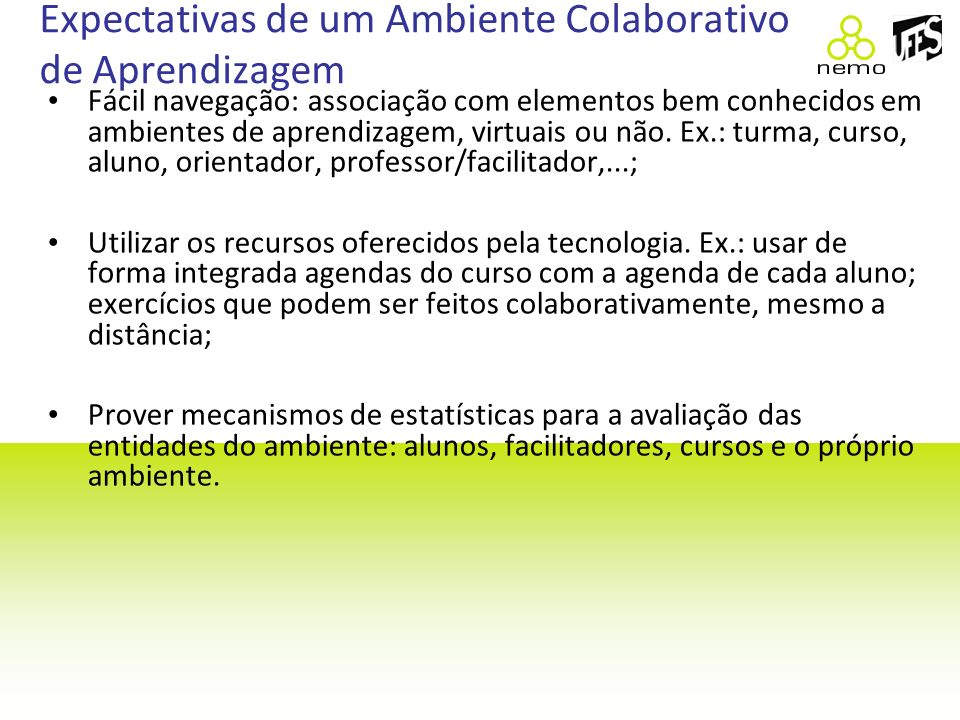 Expectativas de um Ambiente Colaborativo de Aprendizagem