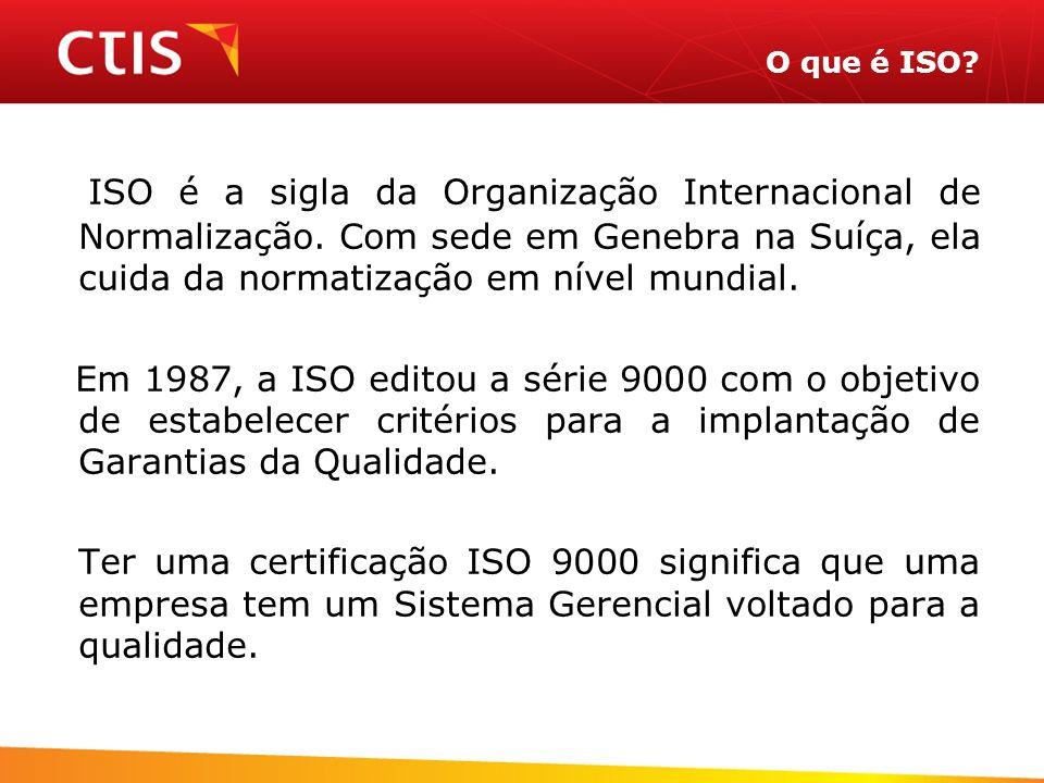 O que é ISO ISO é a sigla da Organização Internacional de Normalização. Com sede em Genebra na Suíça, ela cuida da normatização em nível mundial.