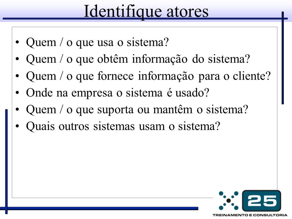 Identifique atores Quem / o que usa o sistema