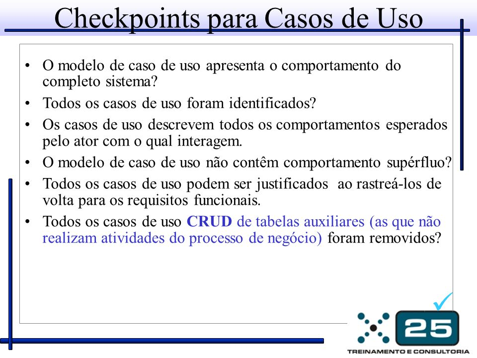 Checkpoints para Casos de Uso