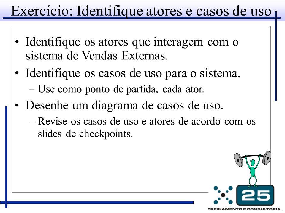 Exercício: Identifique atores e casos de uso