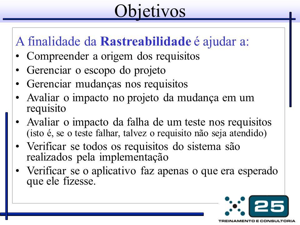 Objetivos A finalidade da Rastreabilidade é ajudar a: