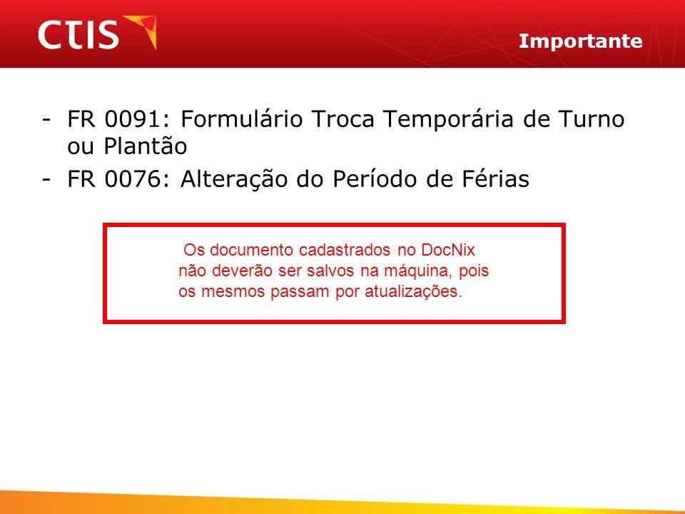 FR 0091: Formulário Troca Temporária de Turno ou Plantão